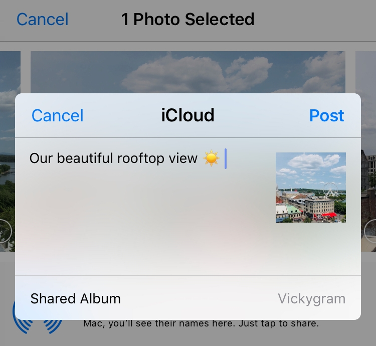 Sharing a photo with iCloud Photo Sharing