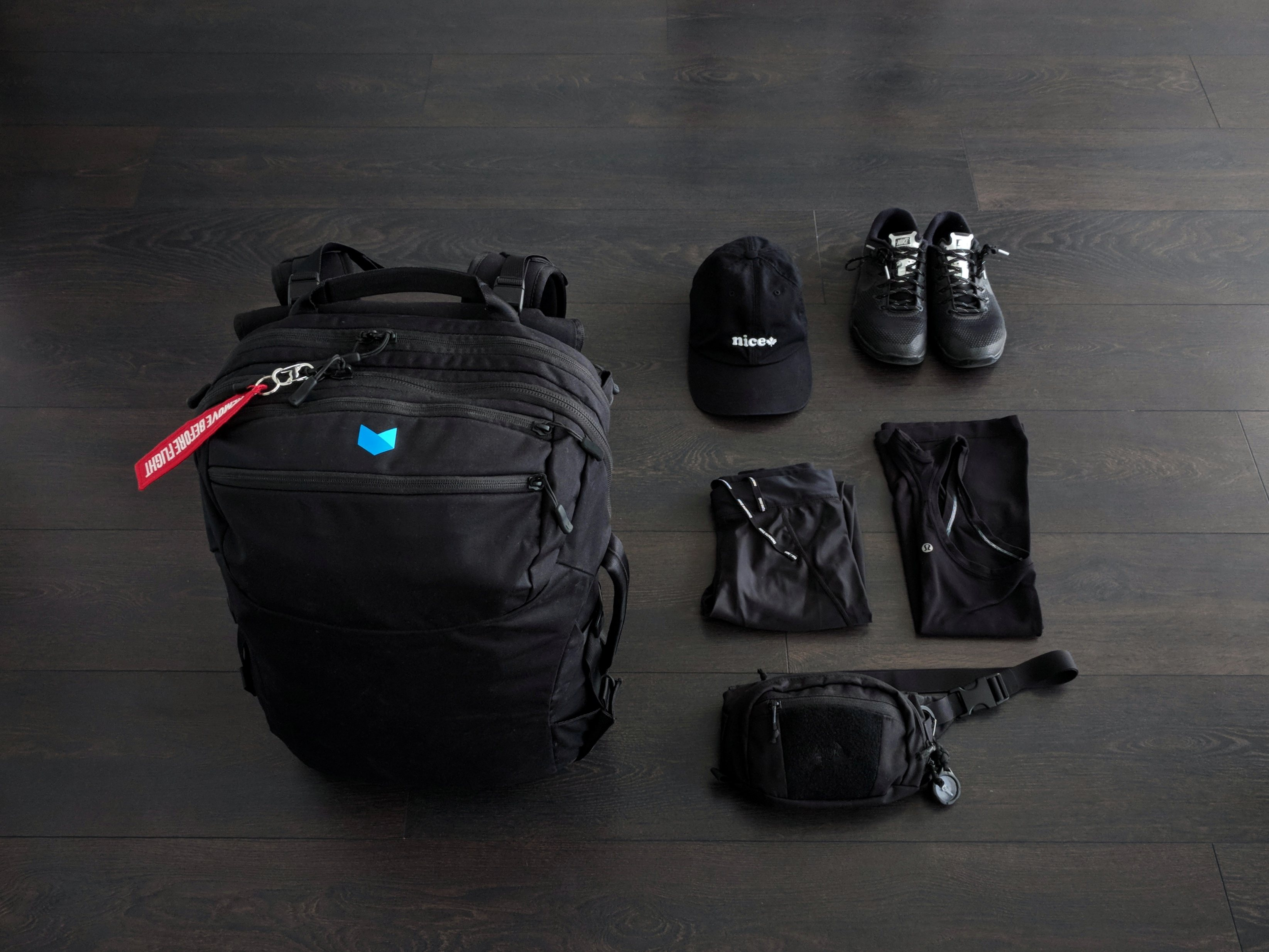 My carry-on bag and the things I wear in transit