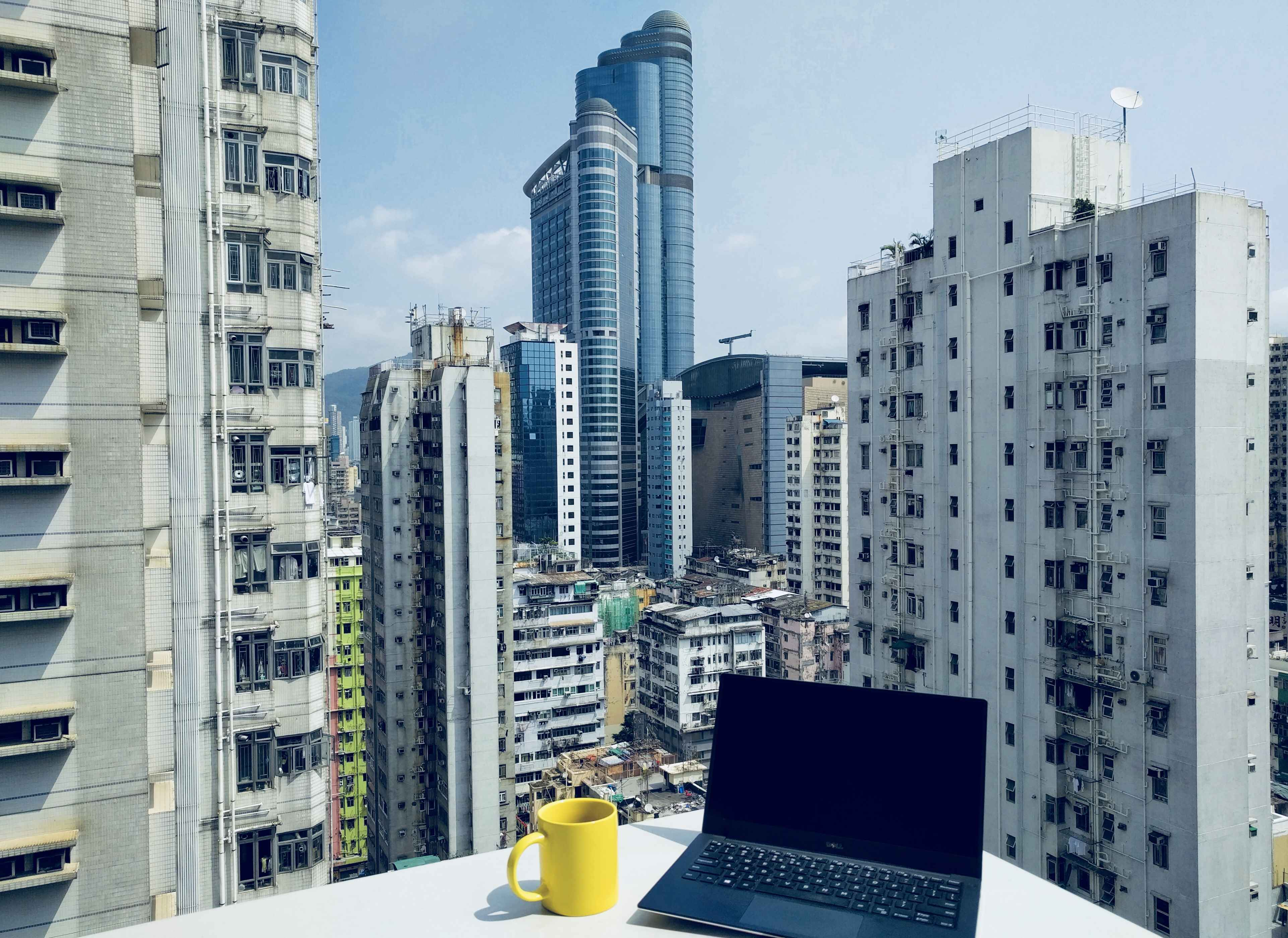 Working on a rooftop in Hong Kong