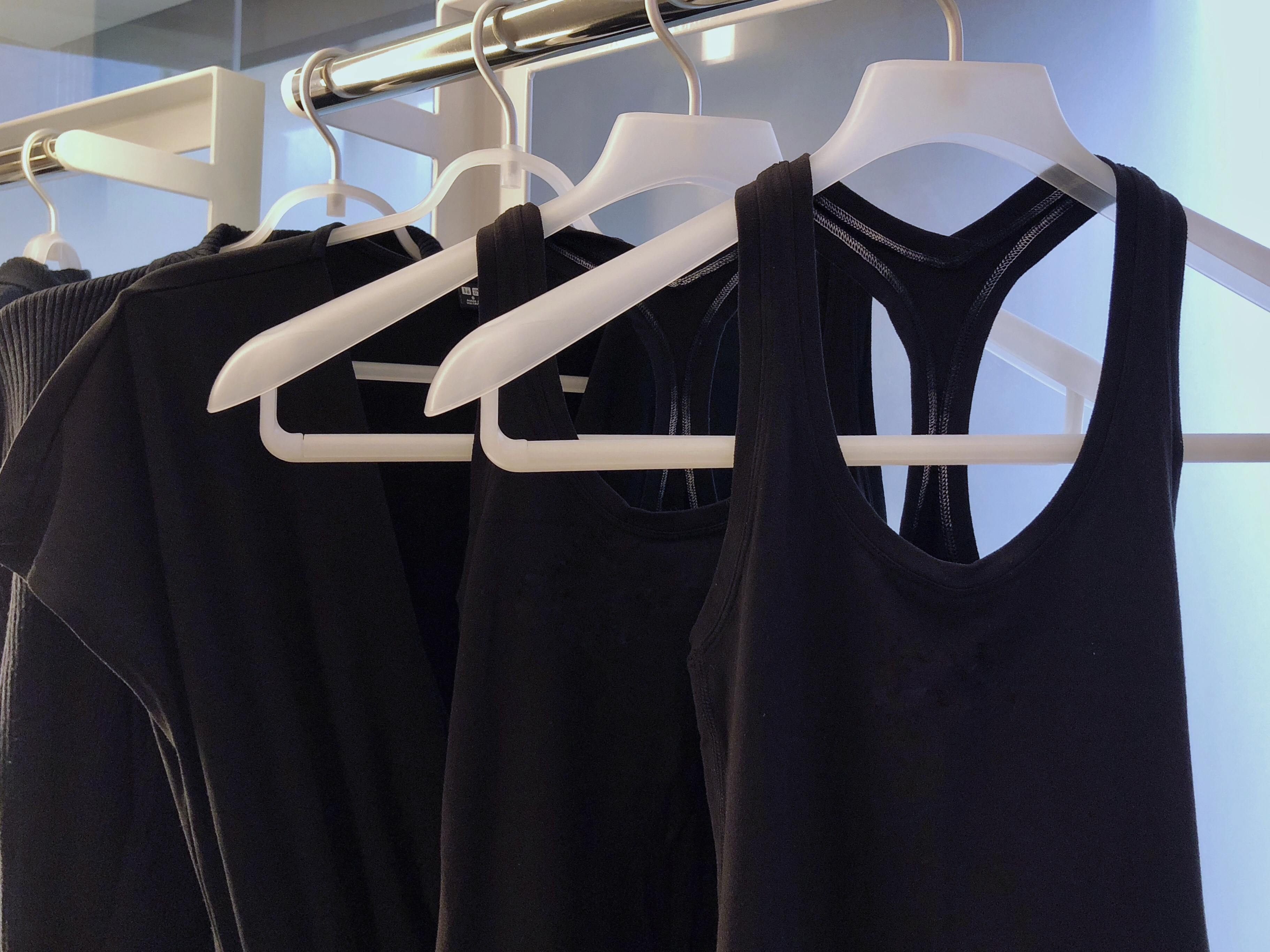 My clothes hanging on a rack
