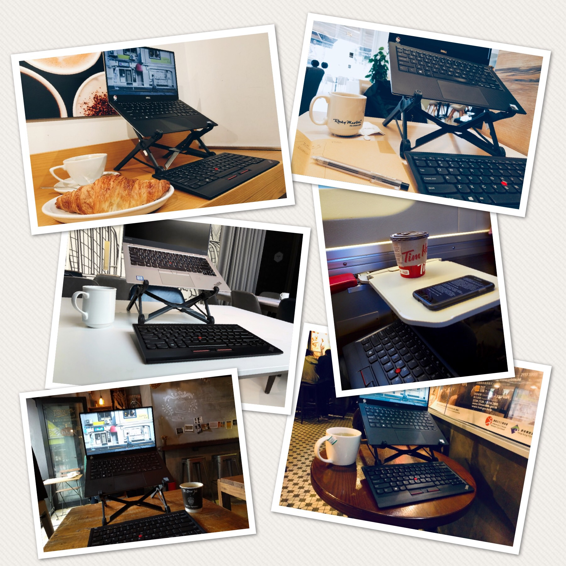 A collage of moments using the Roost Stand and ThinkPad Keyboard