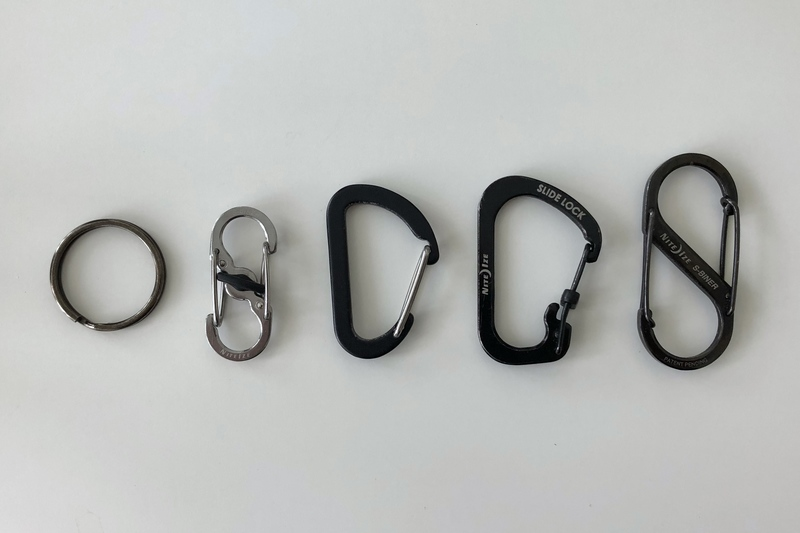 A split key ring and four different styles of carabiner