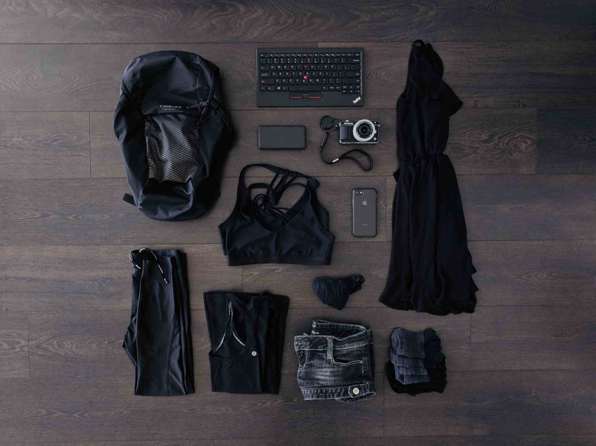 A flat lay of my pack for a trip to Montreal